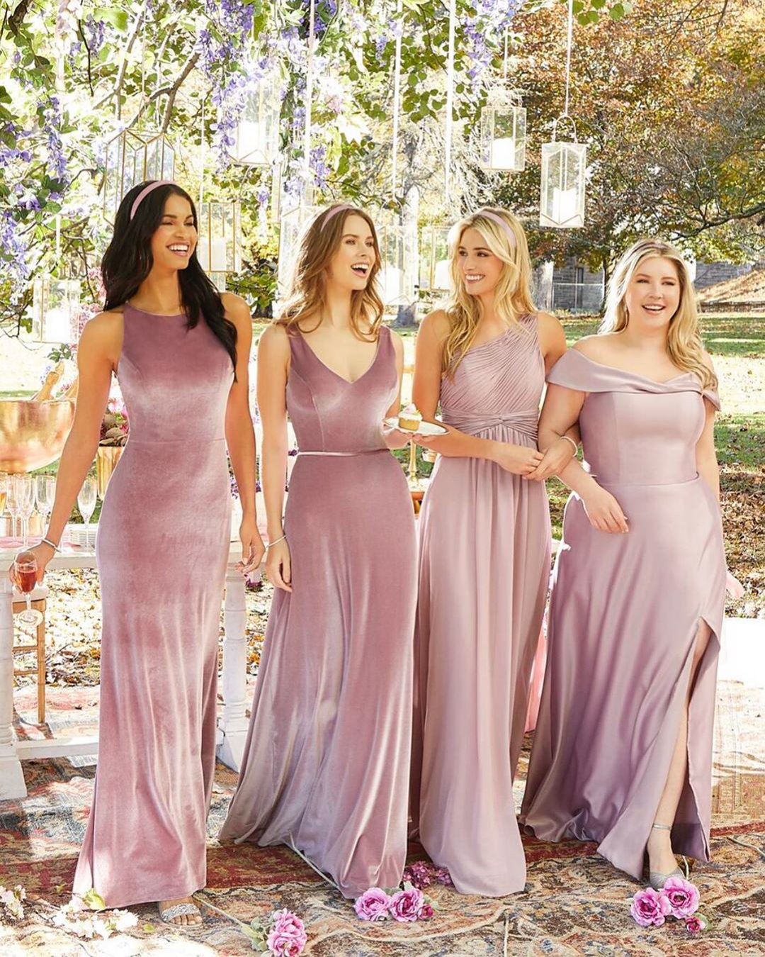 nude wedding photos long velvet simple beach bridesmaids mori lee
