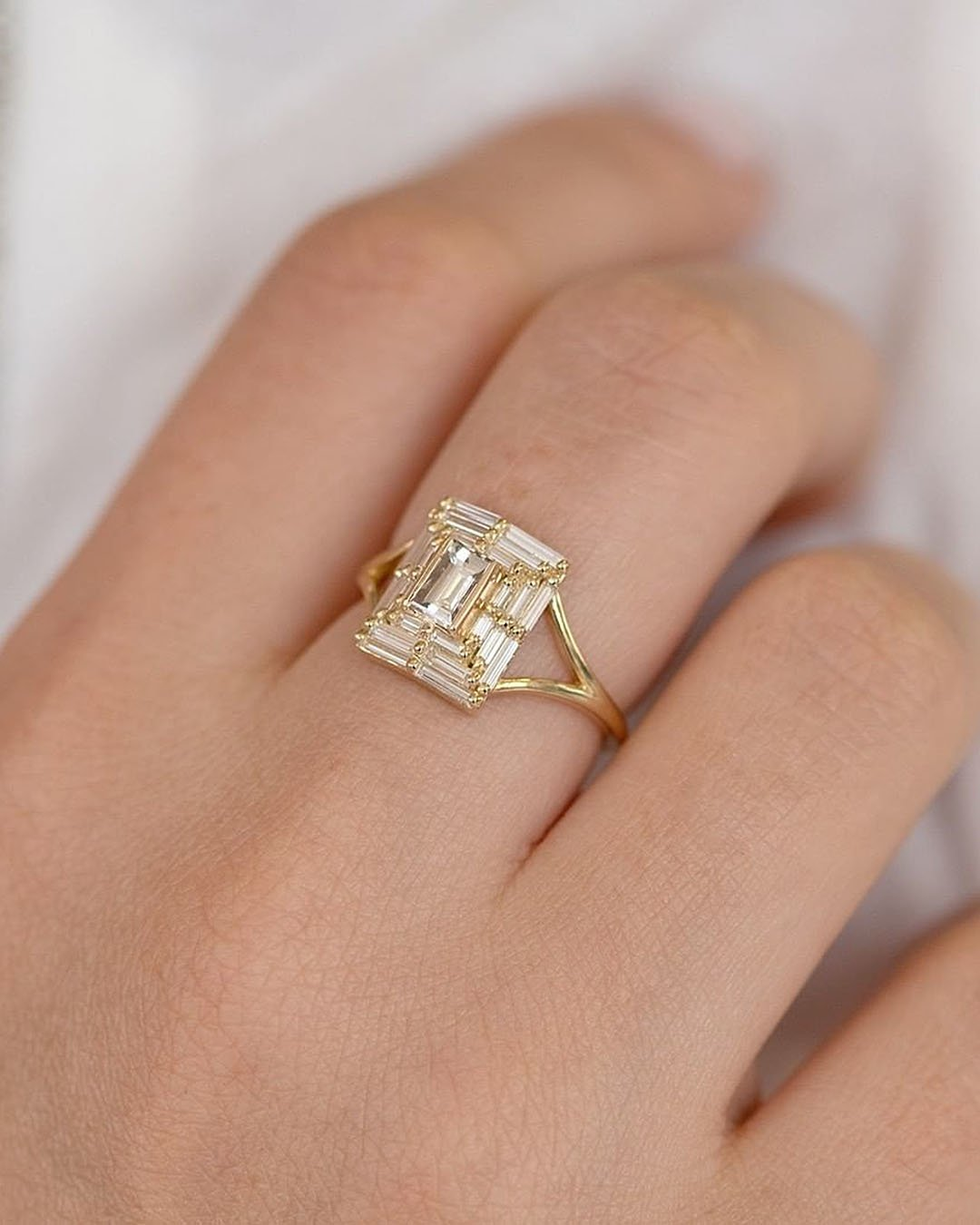 unique engagement rings gold modern ring