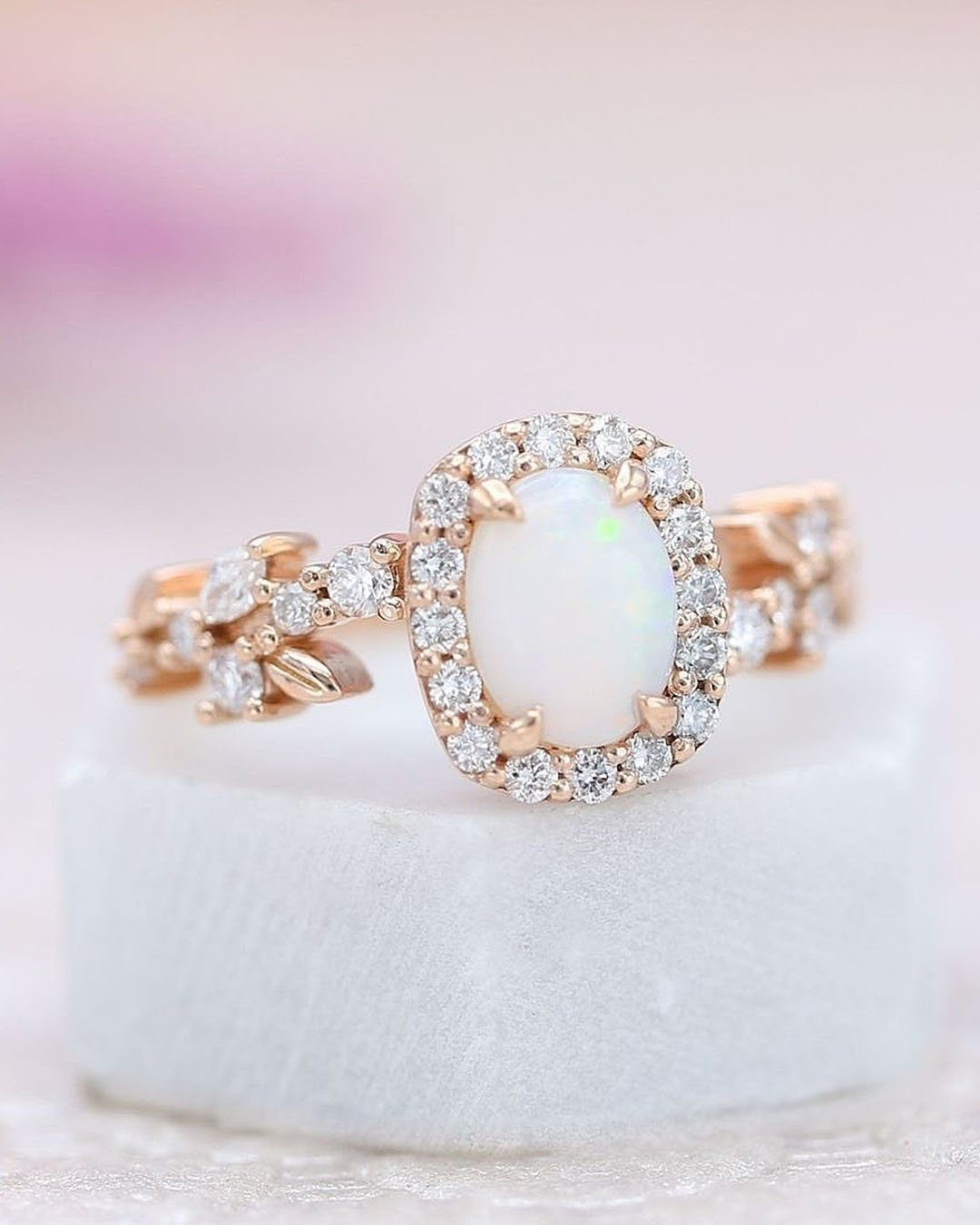 unique engagement rings opal halo rose gold