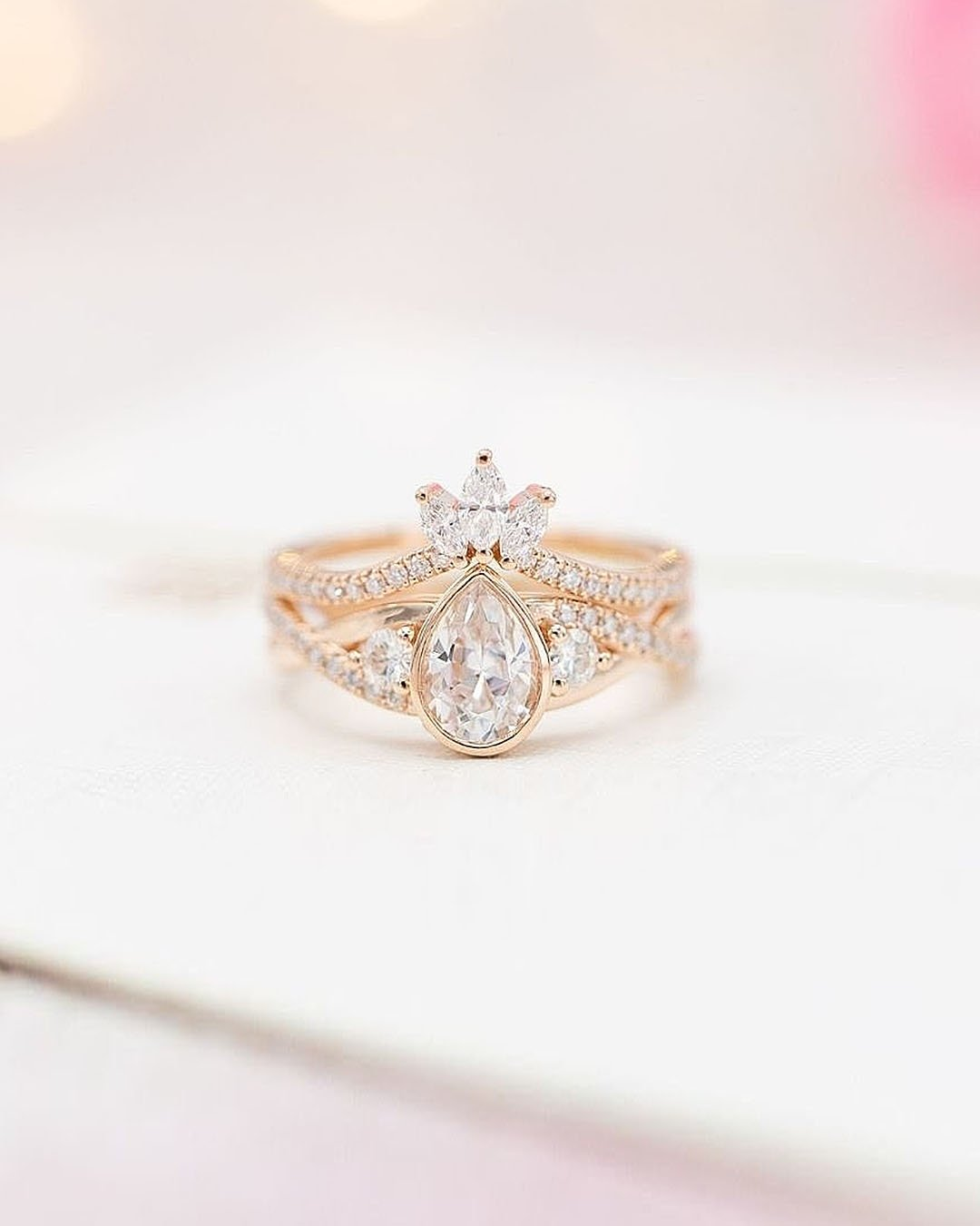 unique engagement rings pear cut diamond rose gold