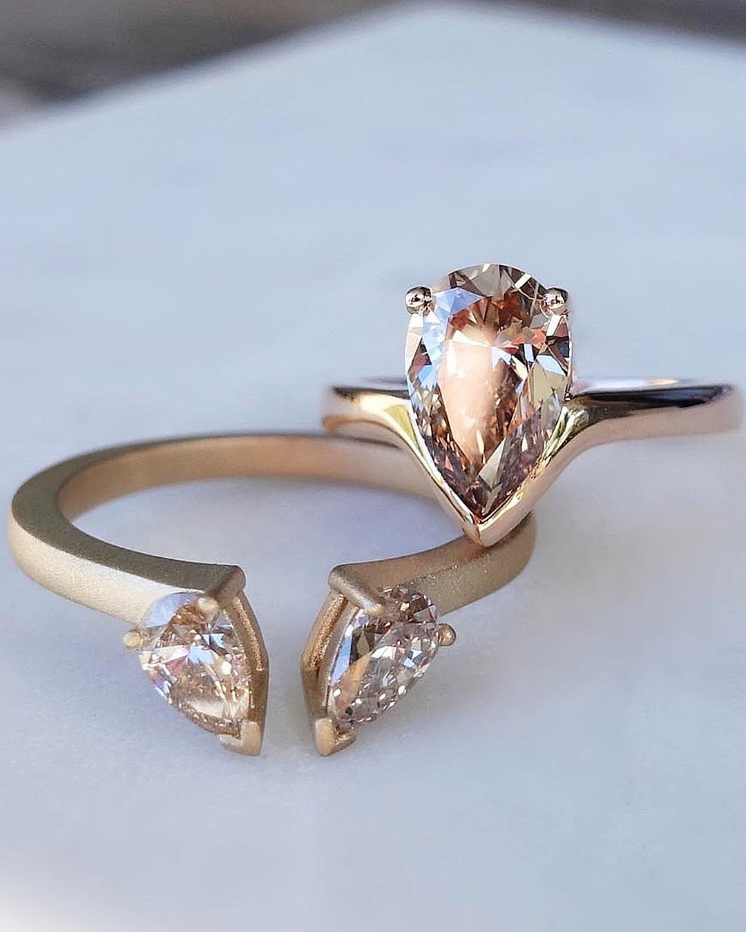 unique engagement rings rose gold pear cut