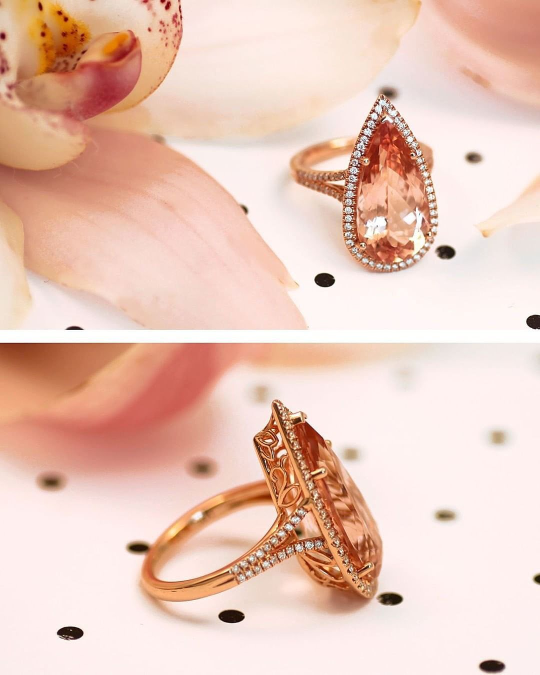 unique engagement rings rose gold pear cut details